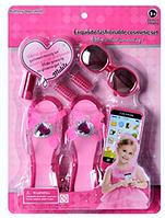 Набор аксессуаров для девочки LM5515A, туфли 18 см, телефон, звук, на батарейке, очки, бигуди, помада