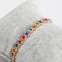 Браслет позолоченный с разноцветными кристаллами сваровскиРадуга