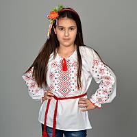 """Вышитая сорочка для девочек """"Орнамент красный"""" KRAYKA"""