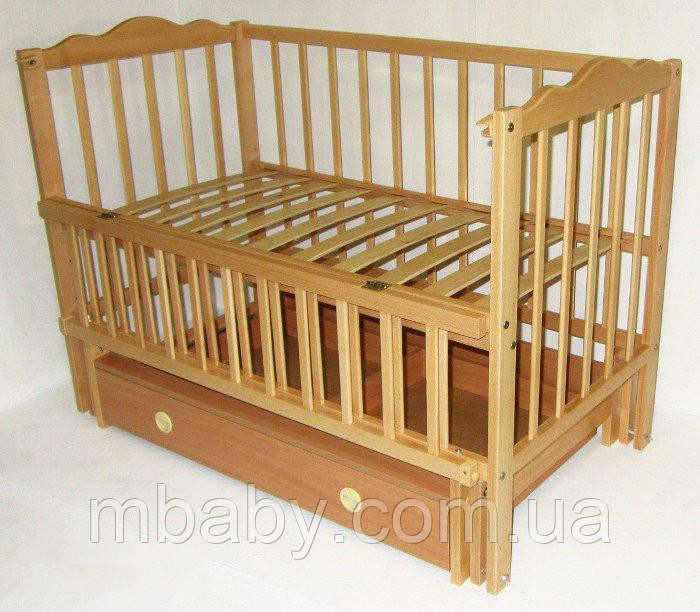 Детская кроватка Анастасия  (цвет натуральный), шарнир-подшипник, ящик, одкидная боковина