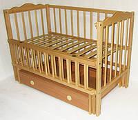 Детская кроватка Анастасия  (цвет натуральный), шарнир-подшипник, ящик, одкидная боковина, фото 1