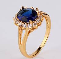 Кольцо с сапфировым цирконом,покрытое золотом р 17,18 код 855
