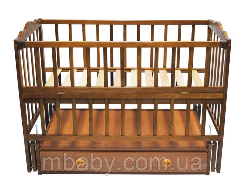 Детская кроватка Анастасия  (цвет орех), шарнир-подшипник, ящик, одкидная боковина
