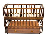 Детская кроватка Анастасия  (цвет орех), шарнир-подшипник, ящик, одкидная боковина, фото 1