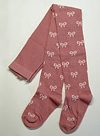 Хлопковые колготки на девочку в бантики розового цвета