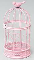 """Подсвечник """"Клетка с птичкой"""" , розовый, 20 см"""