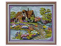 Набор для вышивки картины Цветочная Усадьба 57х46см