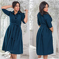 Женское платье миди темно-синего цвета с поясом в комплекте, батальные размеры. Модель 12744.
