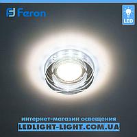 Врезной точечный светодиодный светильник Feron 8080-2 LED с подсветкой