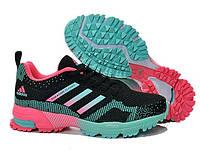 """Кроссовки """"Adidas Marathon Black-Blue-Pink"""" Женские Черные Розовые Голубые Беговые Адидас обувь, спорт, зал"""