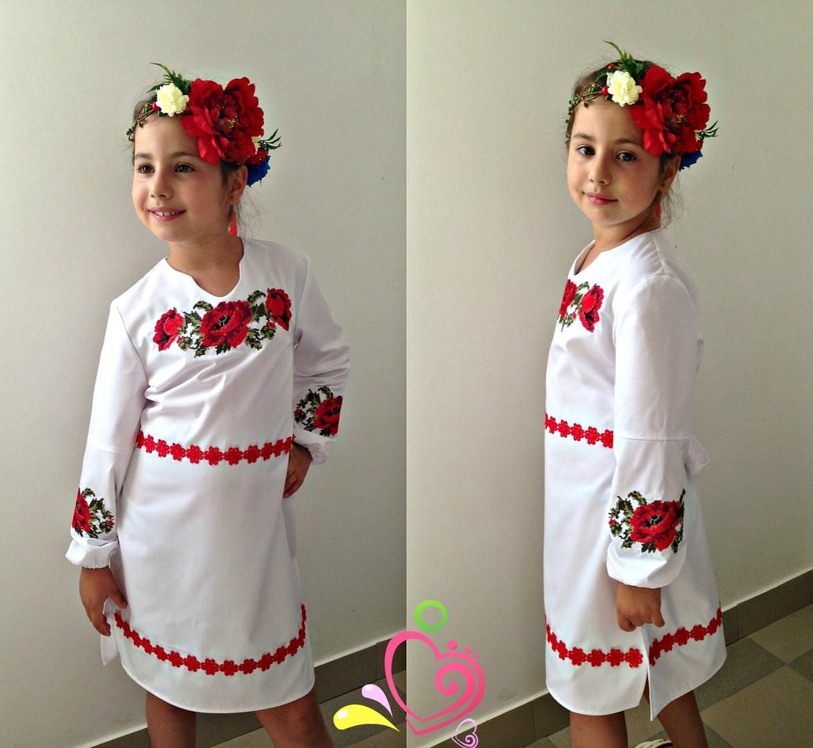 """Платье """"Вышиванка"""" крестиком ткань рубашка 122-140 см"""