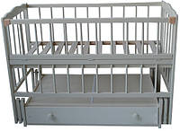 Детская кроватка Анастасия  (цвет слоновая кость), шарнир-подшипник, ящик, одкидная боковина