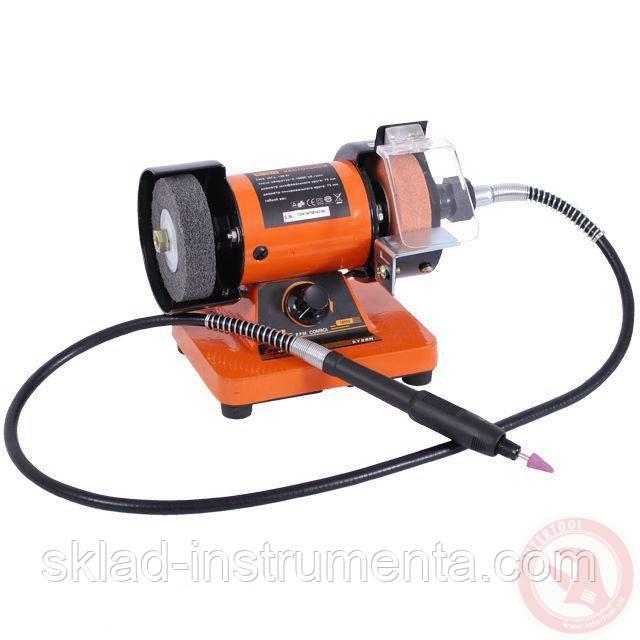 Станок точильный настольный STORM 150 Вт, 0-10000 об/мин, шлифкруг 75 мм, полир. круг 75 мм, гибкий вал