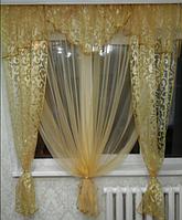Штора на кухню Золотой вензель, фото 1