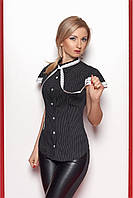 Рубашка нарядная из лёгкого штапеля, декорирована кружевом по рукаву и воротнику-стойке, 42-50 размеры