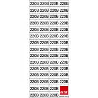 """Знак""""220 В"""" в прямокутнику 15х10мм 58шт.на листі 70х160мм Елтіс (прозора)"""
