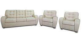 Комплект кожаной мебели Винс, раскладной диван и 2 кресла (3р+1+1), бежевый (2 цвета в наличии)