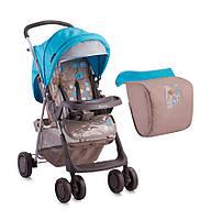 Детская прогулочная коляска STAR + FOOTCOVER BEIGE&BLUE GIRAFFE
