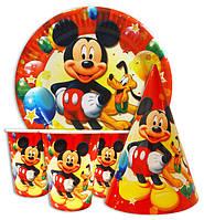 Набор для детского дня рождения Микки Маус оранжевый. Тарелки -10 шт. Стаканчики - 10 шт. Колпачки - 10 шт.