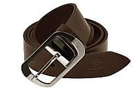 Кожаный женский ремень под джинсы (3.5 см) Grande Pelle Domenica 311204741 шоколад