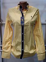 Стильная женская рубашка (реплика) Polo ralph lauren желтого цвета