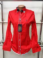 Красивая женская рубашка (реплика) Polo ralph lauren красного цвета