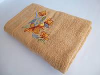 Махровое банное полотенце 140х70см (нарцисс) Бежевый