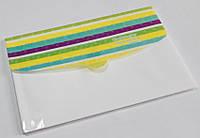"""P0647-A4 Папка - конверт на липучке """"Полосы"""" А4 4 отделения, mix4"""