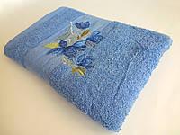 Махровое банное полотенце 140х70см (нарцисс) Синий
