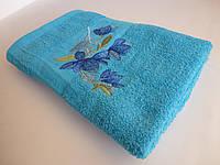 Махровое банное полотенце 140х70см (нарцисс) Голубой