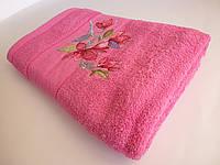 Махровое банное полотенце 140х70см (нарцисс) Малиновый