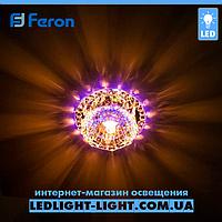Врізний точковий світлодіодний світильник Feron JD125 з LED підсвічуванням RGB, фото 1