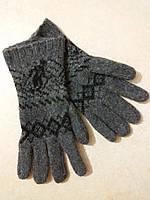 Мужские теплые шерстяные перчатки р. М, темно-серые