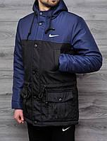 Весенняя мужская парка Nike черно-синяя топ реплика