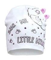 Молочная шапочка для маленькой девочки р-ры 40,42