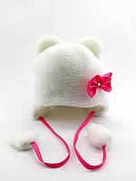 Детская шапка меховая 44-50 размер теплая головные уборы белая (УД33)