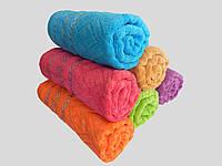 Махровое лицевое полотенце 100х50см (плетенка серебристая)