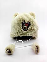 Детская шапка меховая 44-50 размер теплая головные уборы белая (УД21)