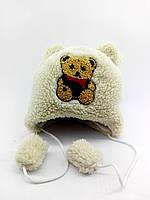 Детская шапка меховая 44-50 размер теплая головные уборы белая (УД318)