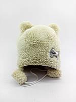 Детская шапка меховая 44-50 размер теплая головные уборы белая (УД19)
