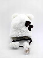 Детская шапка меховая 44-50 размер теплая головные уборы белая (УД17)