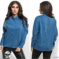 Оригинальная легкая рубашка асимметричной длины с воротником-стойкой.