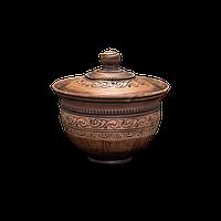 Горшок глиняный (макитра) с крышкой Шляхтянский AA05 Покутская керамика 2 литра