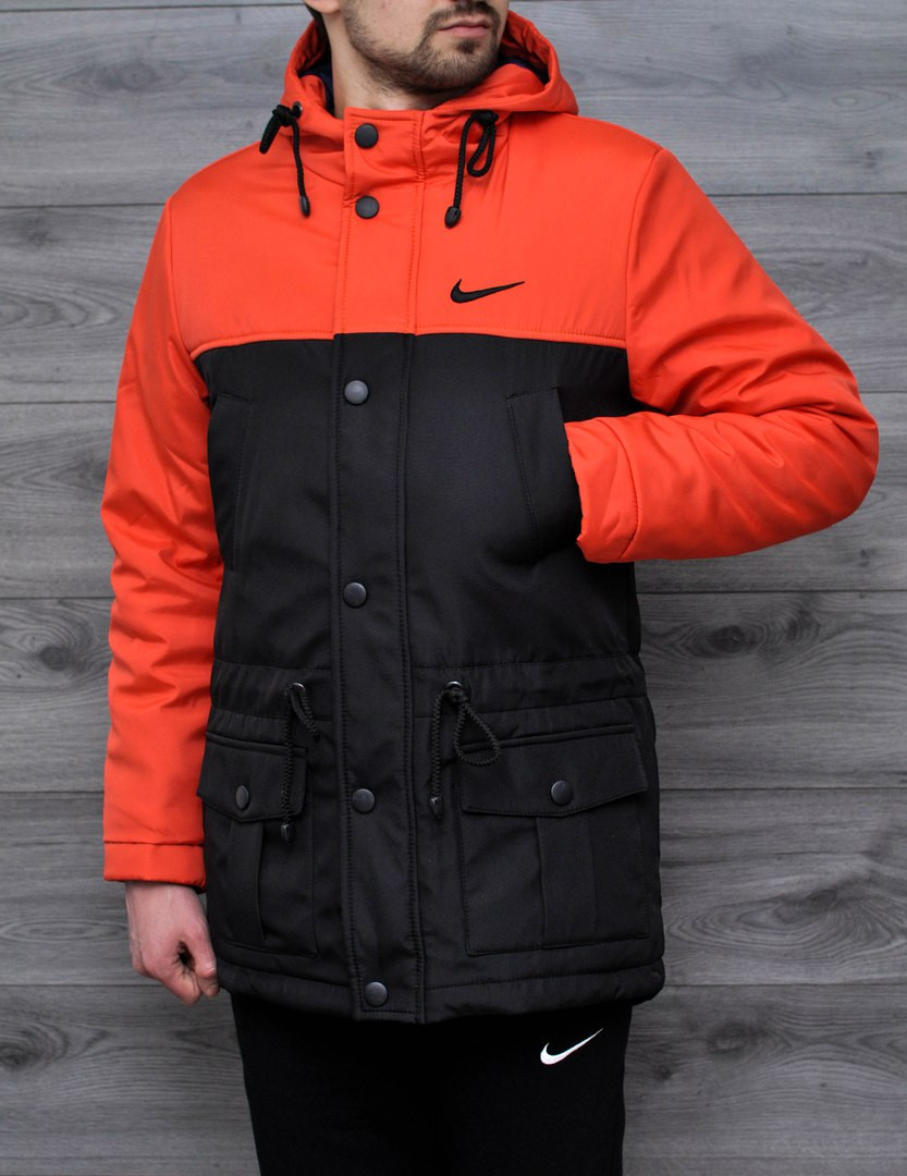 Мужская весенняя куртка Nike оранжевая топ реплика