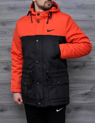 Мужская весенняя куртка Nike оранжевая топ реплика, фото 2