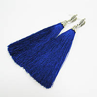Серьги-кисточки синие, шелк [12 см]