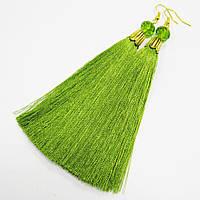 Серьги-кисти желто-зеленые, [12 см]