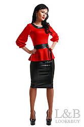 """Трикотажный костюм """"Аманда"""" красный до 52р."""