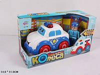 Машина 7106B Веселые колеса со звуком на батарейках в коробке 25*14*11