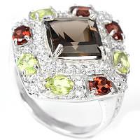 Раухтопаз, гранат и хризолит, серебро 925, кольцо, 259КР, фото 1